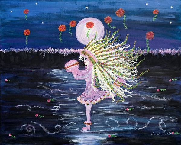 Colourful Art Print featuring the painting Springdance On Ice by Amalia Toivonen