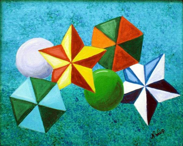 Stars Art Print featuring the painting Stars Circles And Hexagons by Nancy Sisco