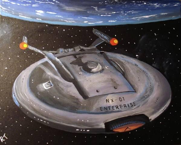 Starship Art Print featuring the painting Starship Enterprise by Rita Tortorelli