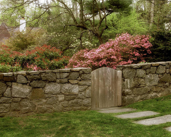 Wooden Gate Art Print featuring the photograph Stone Gate by Jessica Jenney