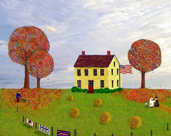 House Art Print featuring the painting Stone House In Autumn by Paul Little