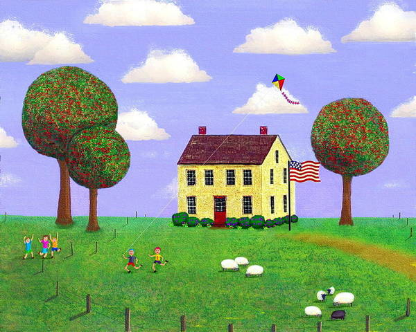 Folk Art Art Print featuring the painting Stone House In Summer by Paul Little