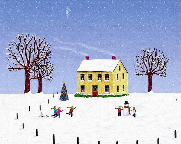 Winter Art Print featuring the painting Stone House In Winter by Paul Little