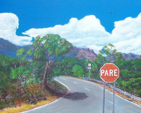 Landscape Art Print featuring the painting Stop Sign by Tony Rodriguez