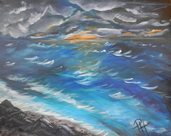 Sea Art Print featuring the painting Storm's Coming by Patti Spires Hamilton