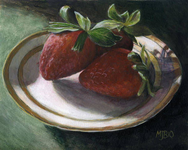Strawberries Art Print featuring the painting Strawberry Still Life by Michael Beckett