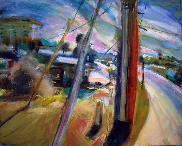 Dornberg Art Print featuring the painting Street Pole by Bob Dornberg