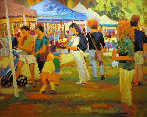Market Art Print featuring the painting Summer Market by Brian Simons