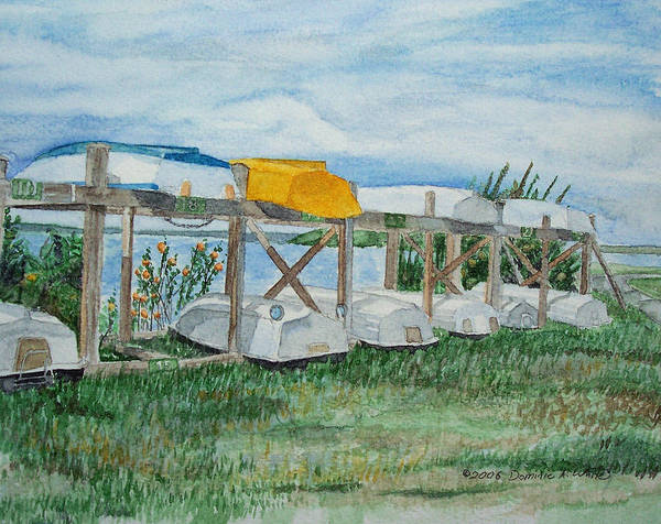 Rowboats Art Print featuring the painting Summer Row Boats by Dominic White