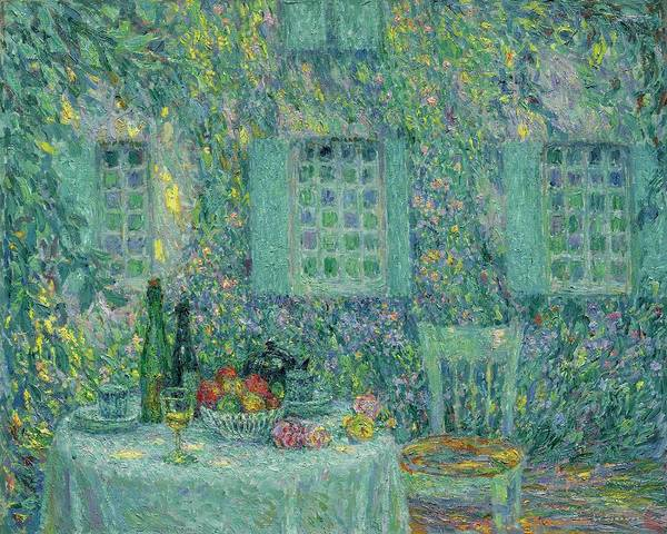 Henri Le Sidaner 1862 - 1939 Table. Sun In The Leaf Art Print featuring the painting Sun In The Leaf, Gerberoy by Henri Le Sidaner