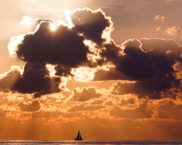 Sunrise Art Print featuring the photograph Sun Peek Sailboat by Lawrence S Richardson Jr