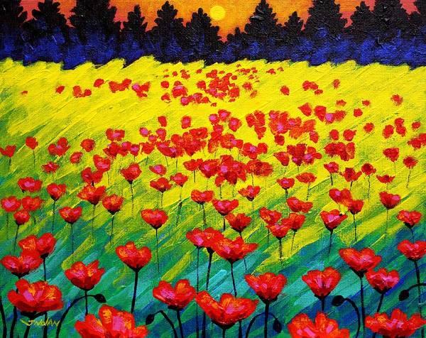 Landscape Art Print featuring the painting Sun Poppies by John Nolan