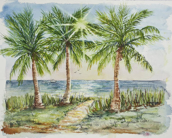 Palm Trees Art Print featuring the painting Sunburst Beach Morning by Janis Lee Colon