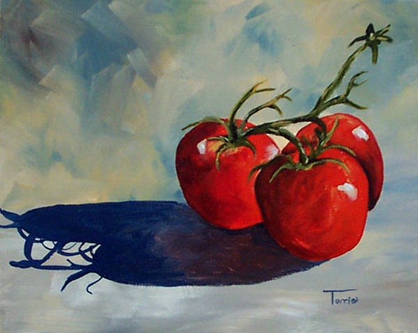 Tomato Art Print featuring the painting Sunlit Tomatoes by Torrie Smiley