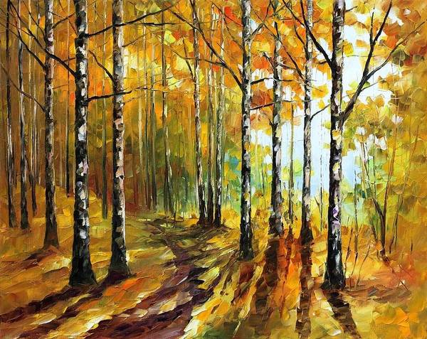 Afremov Art Print featuring the painting Sunny Birches by Leonid Afremov