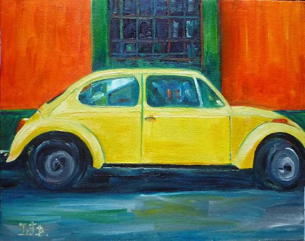 Car Art Print featuring the painting Sunny Side Up by Irit Bourla