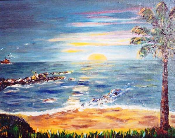 Sun Art Print featuring the painting Sunrise by Gloria M Apfel