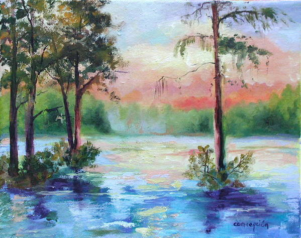 Sunset Art Print featuring the painting Sunset Bayou by Ginger Concepcion