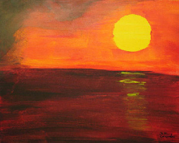 Sunset Art Print featuring the painting Sunset by Jeff Caturano