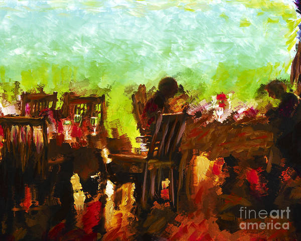 Dining Print featuring the mixed media Sunset Terrace Intimacy by Marilyn Sholin