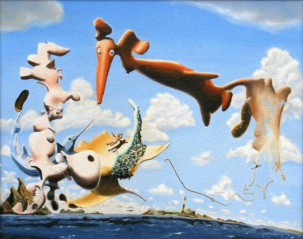 Surreal Art Print featuring the painting Surreal Friends by Dave Martsolf