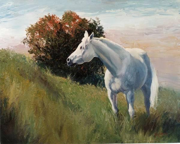 Arabian Art Print featuring the painting Suzie Arabian Horse Portrait Painting by Kim Corpany