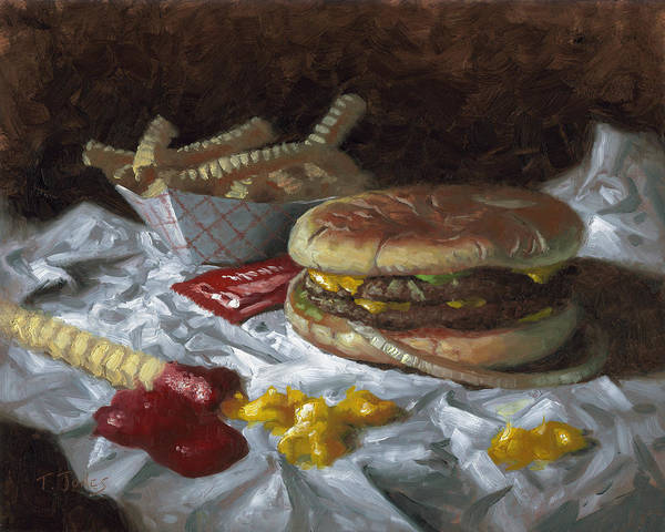 Hamburger Art Print featuring the painting Suzy-q Double Cheeseburger by Timothy Jones