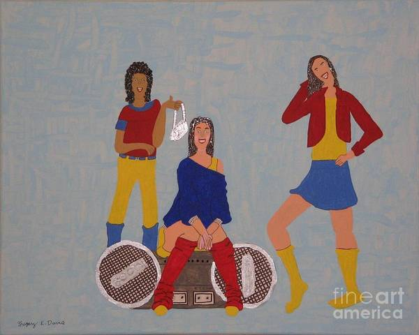 Girls Art Print featuring the painting Takeing A Break by Gregory Davis