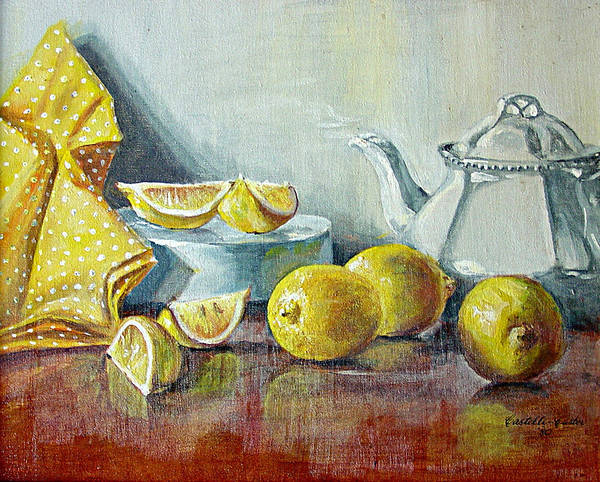 Tea Art Print featuring the painting Tea With Lemon by JoAnne Castelli-Castor