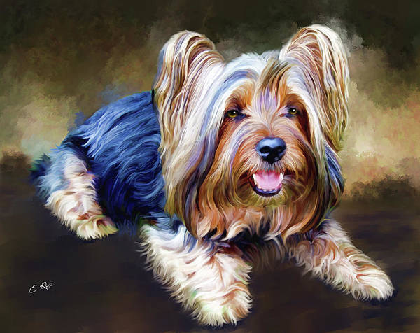Dog Art Print featuring the painting Terrier by Ellens Art