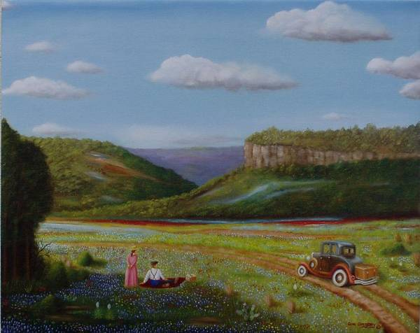 Landscape Of Blue Bonnets Art Print featuring the painting Texas Travelers Giclee by Gene Gregory