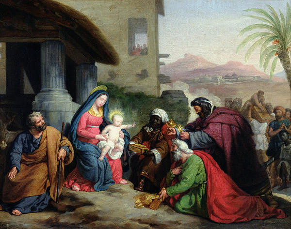 The Print featuring the painting The Adoration Of The Magi by Jean Pierre Granger