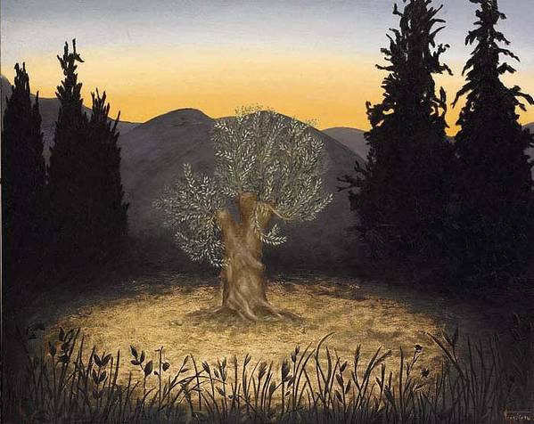 Landscape Art Print featuring the painting The Adoration Of The Olive Tree by Barbara Gerodimou