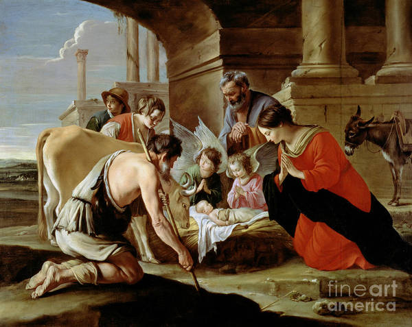 Shepherds Print featuring the painting The Adoration Of The Shepherds by Louis Le Nain