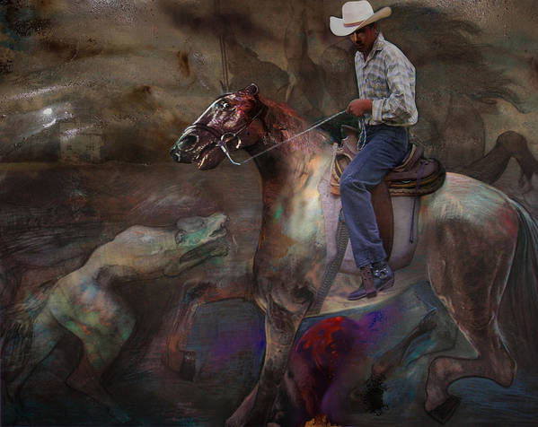 Horse Art Print featuring the digital art The Attack by Henriette Tuer lund