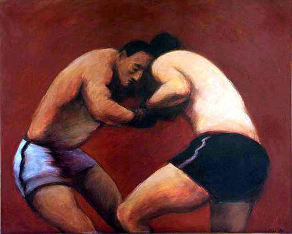 Boxers Art Print featuring the painting The Boxers by James LeGros