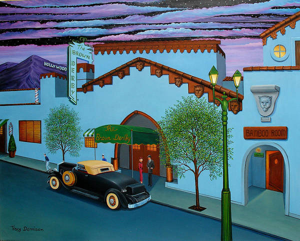 Hollywood Art Print featuring the painting The Brown Derby by Tracy Dennison