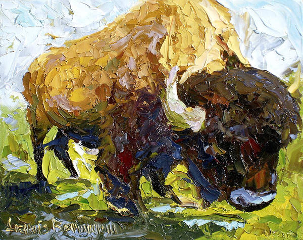 Buffalo Art Print featuring the painting The Buffalo by Lewis Bowman