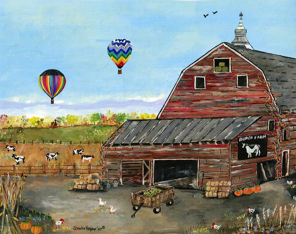 Folk Art Of Old Barn Hot Air Balloons Cows Art Print featuring the painting The Burch Farm by Sandie Keyser