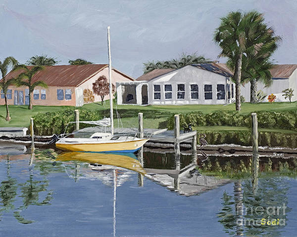 Landscape Art Print featuring the painting The Canal Awakens by Sodi Griffin
