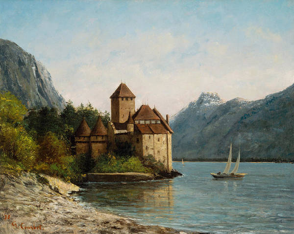 Lake Leman Art Print featuring the painting The Castle Of Chillon Evening by Gustave Courbet