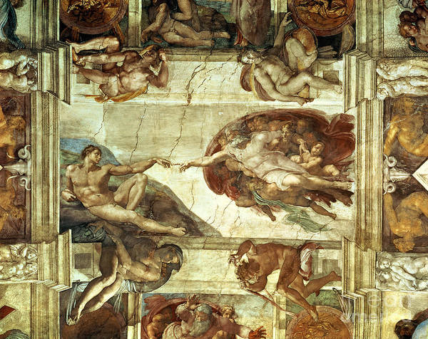 The Creation Of Adam Art Print featuring the painting The Creation Of Adam by Michelangelo