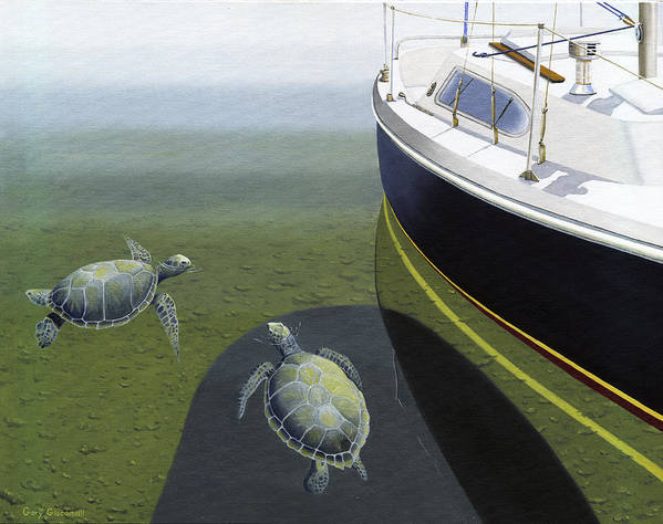 Sail Boat Art Print featuring the painting The Curiosity Of Sea Turtles by Gary Giacomelli