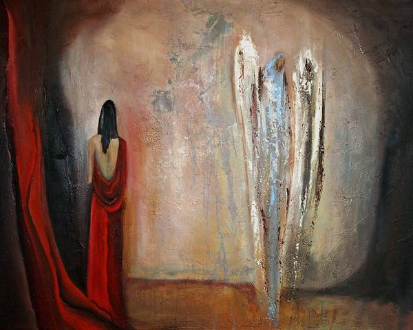 Angels Art Print featuring the painting The Devine Messenger by Niki Sands