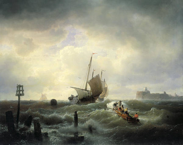 The Art Print featuring the painting The Entrance To The Harbour At Hellevoetsluys by Andreas Achenbach