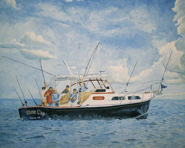 Fishing Art Print featuring the painting The Fishing Charter - Cape Cod Bay by Dominic White