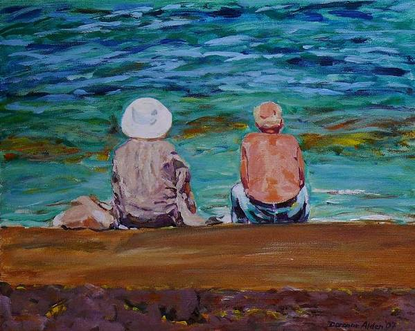 People Art Print featuring the painting The Golden Years by Doranne Alden