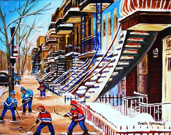 Hockey Art Print featuring the painting The Gray Staircase by Carole Spandau