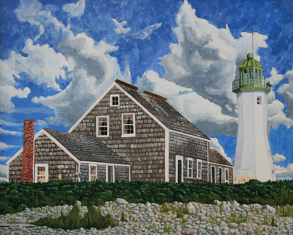Lighthouse Art Print featuring the painting The Light Keeper's House by Dominic White
