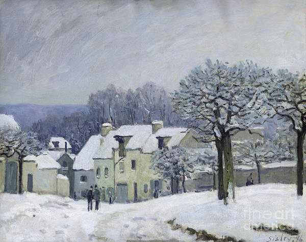 The Art Print featuring the painting The Place Du Chenil At Marly Le Roi by Alfred Sisley